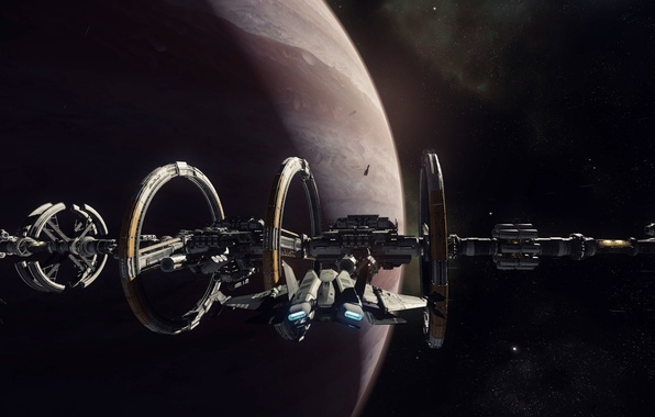 Картинка звезды, планета, станция, космический корабль, стыковка, звездолет