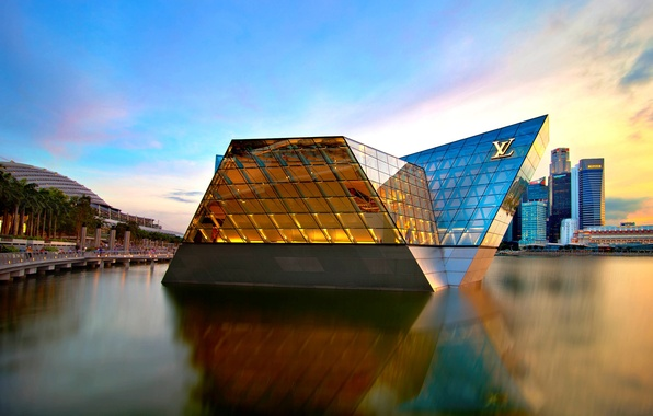 Картинка город, берег, здания, небоскребы, Сингапур, архитектура, Louis Vuitton, высотки, Singapore, North Pavilion, Marina Bay Sands