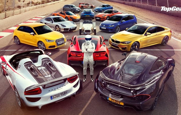 Картинка Top Gear, Wallpaper, Stig, Supercars, Volkswagen Golf, Porsche 918, BMW M4, McLaren P1, Jaguar F-Type, …
