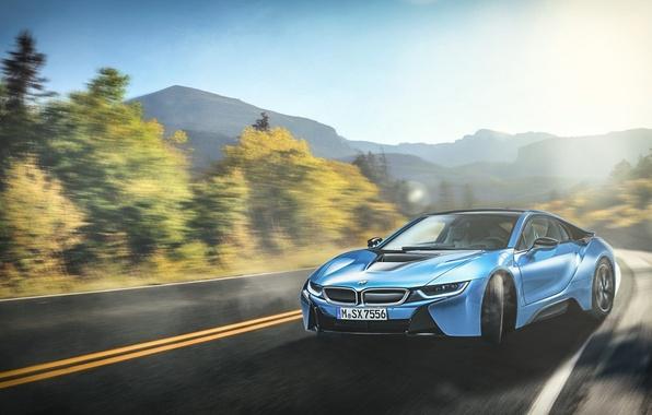 Картинка BMW, Car, Blue, Sun, Mountain, Sport, Road, Beam, Skid, Drifting, Serpentine