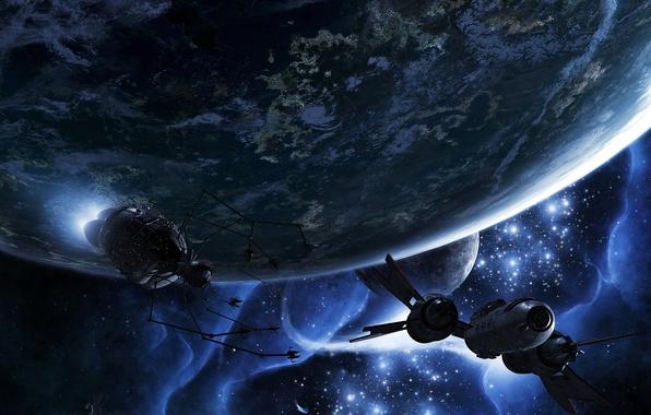 Картинка космос, планеты, корабль, спутник, escape velocity