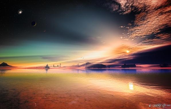 Картинка небо, звезды, скалы, арт, чужая планета
