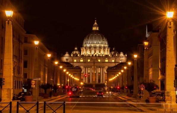 Картинка дорога, машины, улица, освещение, Рим, фонари, Италия, Italy, Rome, Ватикан, Stato della Città del Vaticano, …