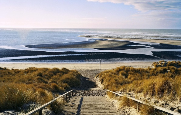 Картинка песок, море, волны, пляж, пейзаж, природа, горизонт, лестница