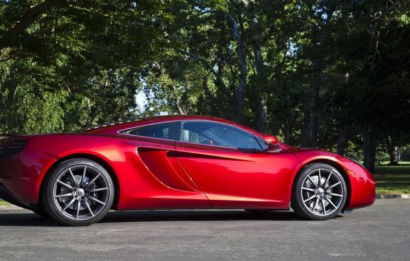 Картинка красный, McLaren, профиль, red, MP4-12C, МакЛарен