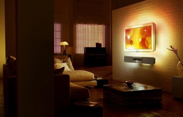 Картинка дизайн, стиль, комната, диван, темно, лампа, кровать, интерьер, телевизор