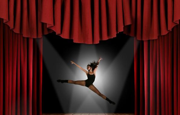 Картинка девушка, сцена, танец, занавес, танцовщица