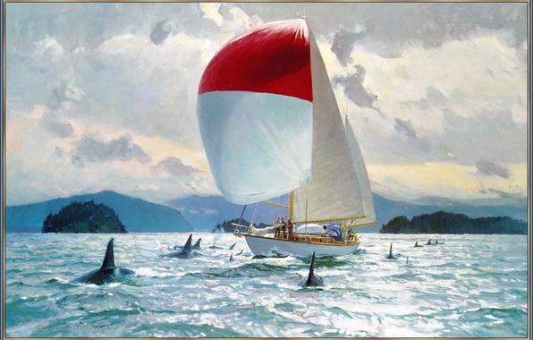 Картинка море, небо, облака, парусник, картина, яхта, касатки, Blossom Christopher