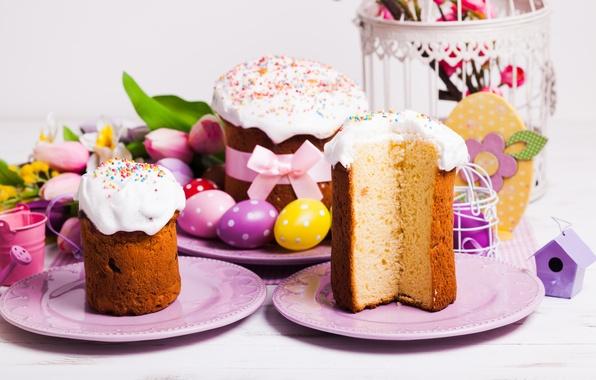 Картинка яйца, Пасха, тюльпаны, cake, кулич, выпечка, tulips, глазурь, spring, Easter, eggs, holiday, decoration, blessed