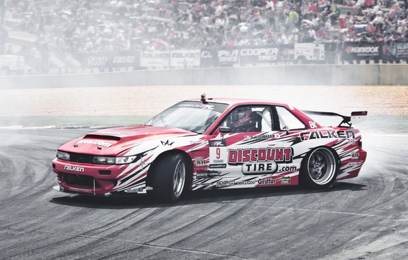 Картинка авто, соревнования, дым, занос, гонки, дрифт, drift, Nissan Silvia, S13