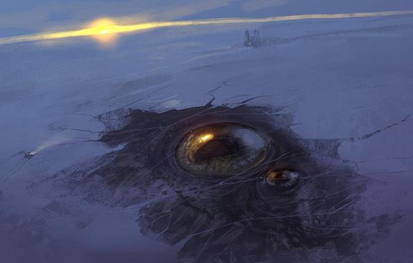 Картинка зима, солнце, снег, закат, глаз, лёд, станция, арт
