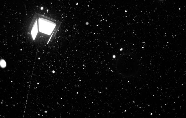 Картинка свет, снег, ночь, темно, фонарь, night, snow