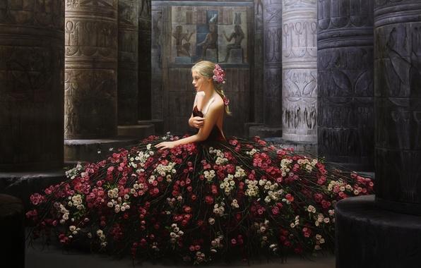 Картинка девушка, цветы, поза, модель, розы, платье, колонны, живопись, сидит