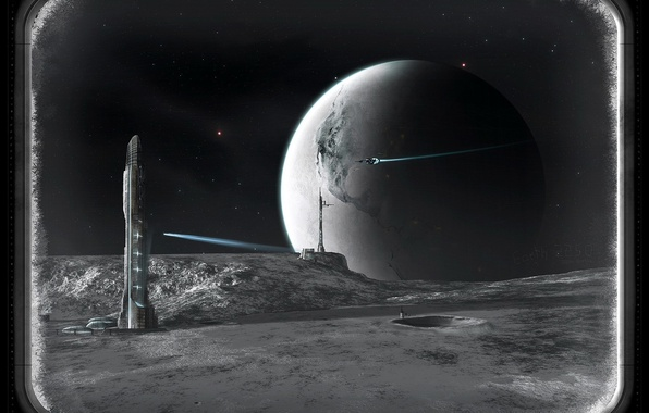 Картинка корабль, планета, башня, иллюминатор