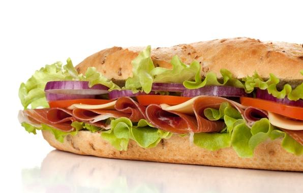 Картинка сыр, лук, мясо, помидор, ломтики, сэндвич, салат