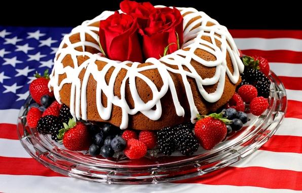 Картинка цветы, малина, фон, widescreen, обои, роза, еда, шоколад, клубника, торт, wallpaper, цветочки, красная, крем, широкоформатные, …