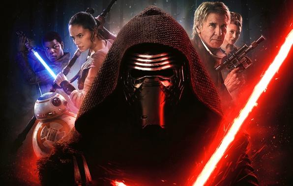 Картинка оружие, фантастика, робот, маска, капюшон, постер, персонажи, световой меч, Harrison Ford, Star Wars: Episode VII ...