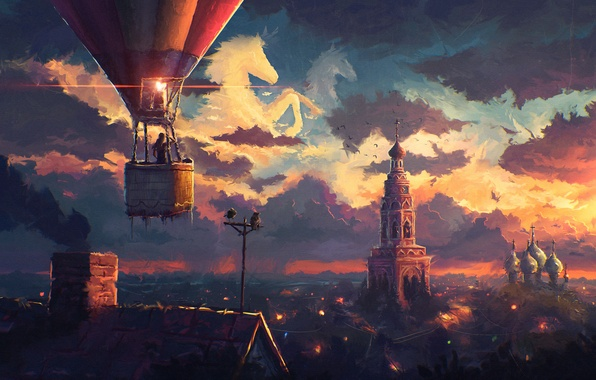 Картинка крыша, небо, облака, город, воздушный шар, арт, церковь, купол