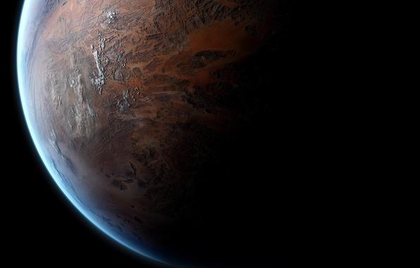 Картинка поверхность, свет, планета, тень, атмосфера, space, рельеф