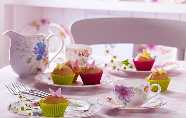 Картинка бабочки, цветы, стол, еда, чашки, пирожное, cake, десерт, food, butterfly, flowers, сладкое, кексы, cakes, dessert, …
