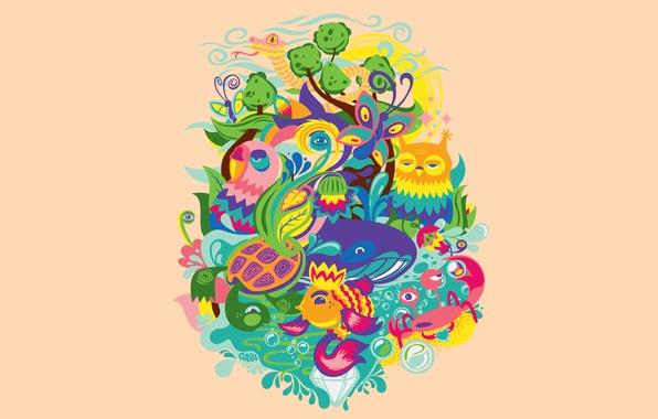 Картинка животные, небо, вода, солнце, цветы, природа, сова, бабочка, краб, черепаха, змея, рыба, кит, nature, фауна, …