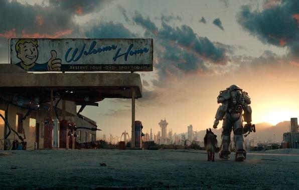 Картинка собака, атмосфера, Броня, Bethesda Softworks, Экипировка, Bethesda Game Studios, Fallout 4, Силовая Броня