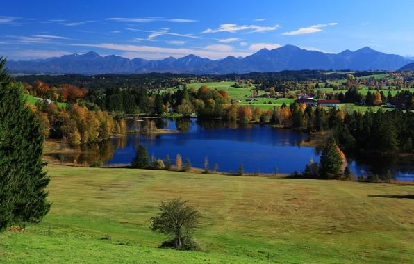Картинка небо, деревья, горы, озеро, дома, Германия, Бавария