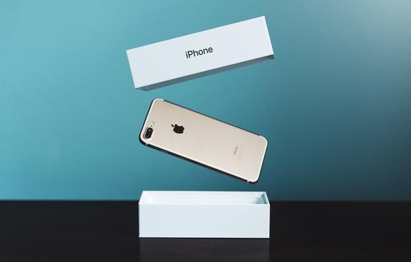 Фото обои Apple, iPhone, Hi-Tech, Gold, Phone, 7 Plus