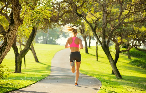 Картинка woman, park, workout, running, jogging