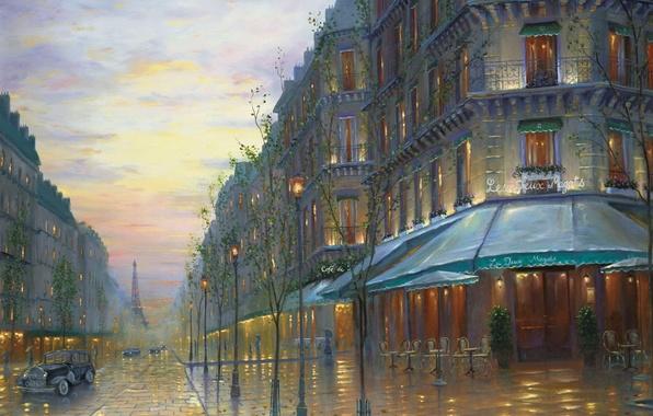 Картинка ретро, улица, Франция, Париж, здания, вечер, Эйфелева башня, Paris, живопись, Robert Finale, France, painting, cafe, ...