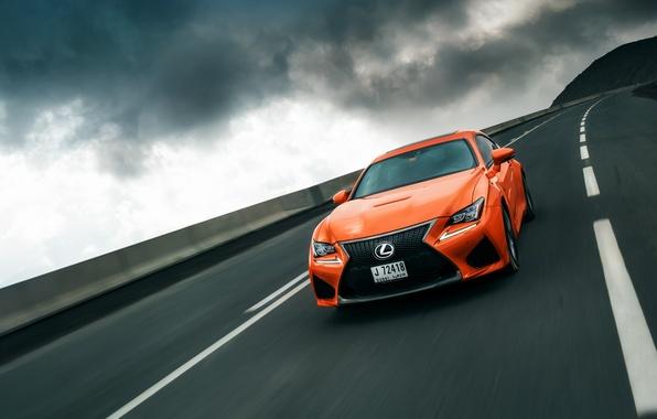 Картинка дорога, небо, скорость, Lexus, orange, RC F