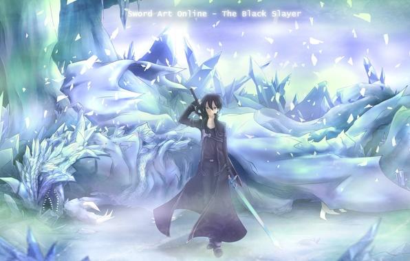Картинка холод, лед, оружие, дракон, меч, аниме, арт, парень, плащ, sword art online, kirito, asakurashinji