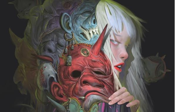 Картинка девушка, куклы, арт, профиль, маски