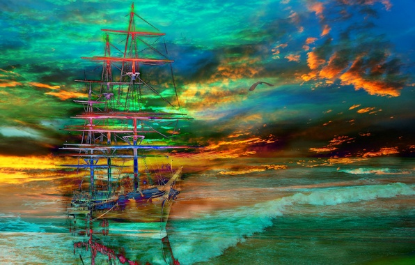Корабль парусник обои фото картинки
