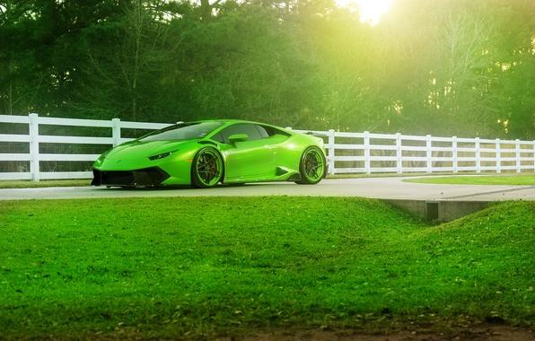 Картинка Lamborghini, Green, Front, Color, Supercar, Wheels, ADV.1, Huracan, LP610-4, Jeff