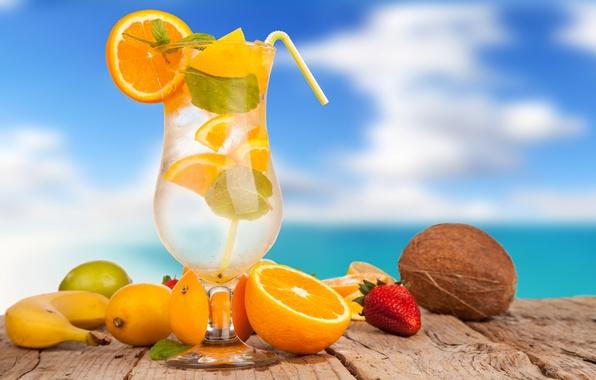 Картинка лед, лето, лимон, бокал, апельсин, кокос, клубника, коктейль, лайм, трубочка, напиток, фрукты, банан, цитрусы, cocktails