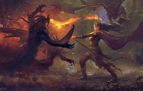 Картинка девушка, огонь, магия, арт, посох, битва, демоны
