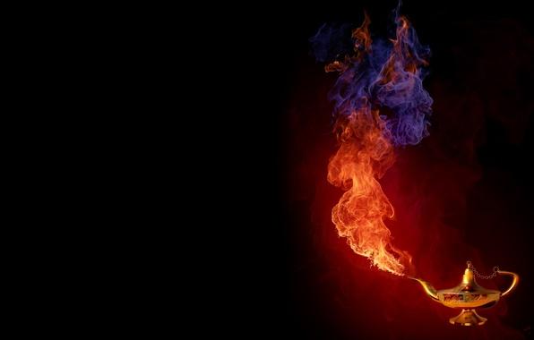 Картинка огонь, дым, лампа, джин