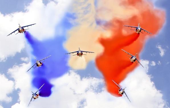 Картинка небо, авиация, шоу, самолёты
