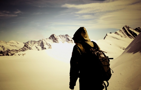 Картинка небо, свобода, снег, горы, человек
