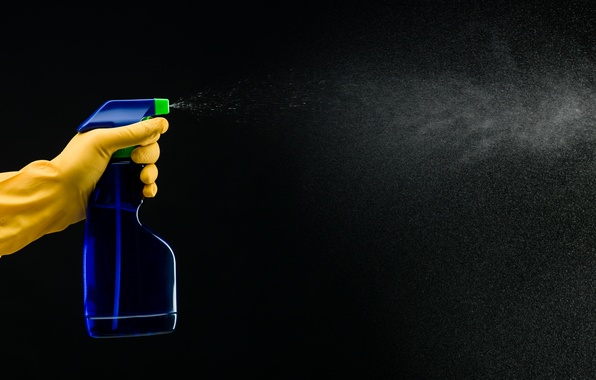 Картинка spray, plastic bottle, trigger latex gloves, cleaner