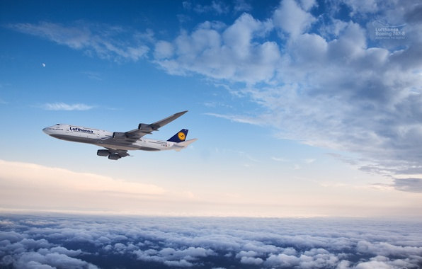 Картинка Облака, Самолет, Луна, Полет, Boeing, Flight, Moon, Clouds, Боинг, Air, 747, Flying, Lufthansa, Пассажирский, Люфтганза, …