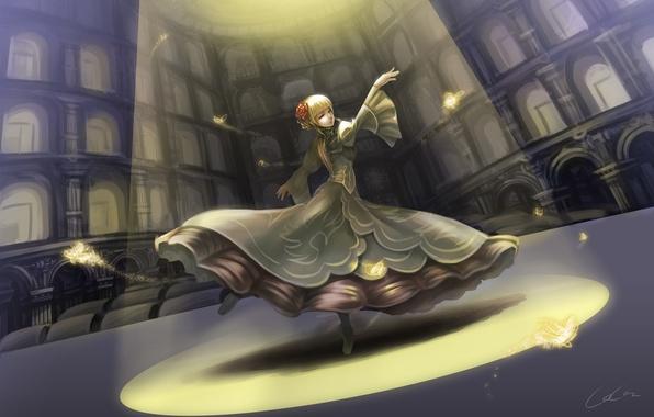 Картинка цветок, девушка, свет, бабочки, роза, аниме, арт, umineko no naku koro ni, когда плачут чайки, …