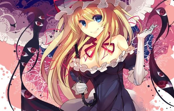Картинка грудь, глаза, девушка, зонт, арт, бант, чепчик, touhou, yakumo yukari, rain lan