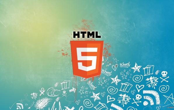 Картинка сеть, краска, логотип, пятна, интернет, html5, hyper text markup language, html, web, веб