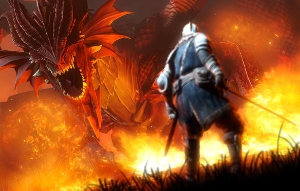 Картинка fire, dragon, warrior