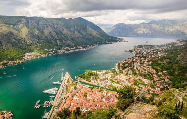Картинка горы, панорама, Черногория, Котор, Montenegro, Которский залив, Kotor, хребет Ловчен, Kotor bay