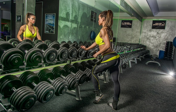 Картинка woman, reflection, mirror, workout, fitness, gym, dumbbells