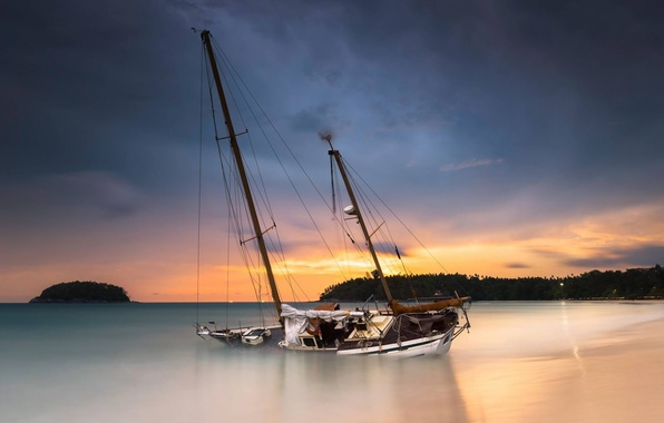 Картинка море, закат, лодка