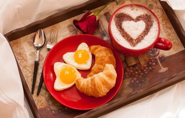 Картинка любовь, праздник, сердце, роза, кофе, завтрак, чашка, rose, flower, heart, выпечка, Valentine's Day, holiday, croissant, …